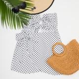 Sexy trägerloses Minikleid mit weißer und schwarzer Polka