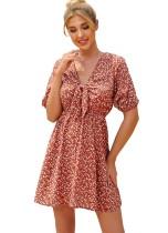 Sommer V-Ausschnitt Blumen A-Linie gebundenes Kleid