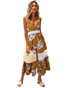 Sommer Blumenriemen Long Beach Kleid