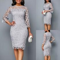 Moeder van de bruid grijze midi-jurk