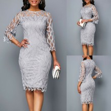 Mother of the Bride Grey Midi Gown