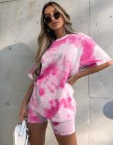 Conjunto de pantalones cortos de verano de dos piezas con efecto tie dye