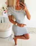 Summer O-Neck Perlen Minikleid mit Spitzenärmeln