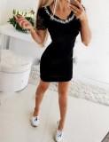 Mini vestido de verano con cuentas y cuello redondo con mangas de encaje
