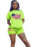 Summer American Flags Print Zweiteiliges Shorts-Set