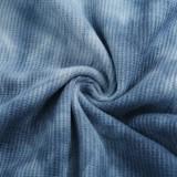 Tie Dye Blue Sexy Schmetterlingshalfter Minikleid
