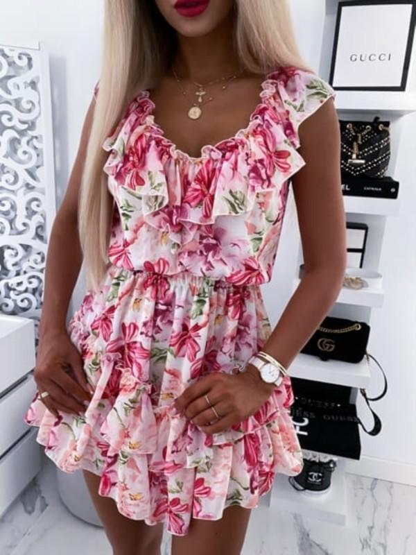 Vestido skater rosa floral de verano