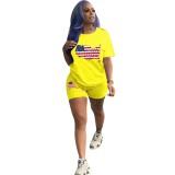 Summer American Flags Print Zweiteiliges Shorts-Set