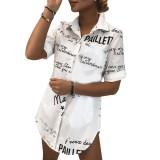 Sommer Print White Slit Long Shirt