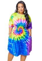Vestido camisero con efecto tie dye de talla grande