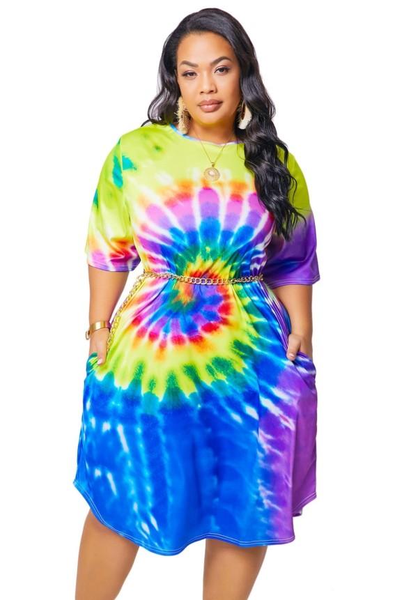 Plus Size Summer Tie Dye Hemdkleid