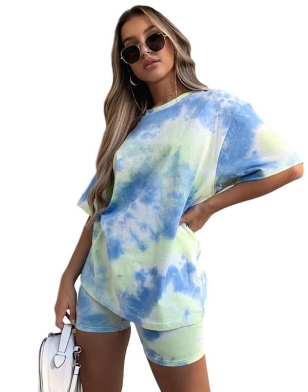 Summer Tie Dye Casual Zweiteiliges Shorts-Set