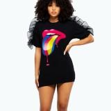 Summer Lips Print Schwarzes Hemdkleid mit O-Ausschnitt