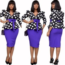 Mature Polka Peplum Midi Dress with Belt
