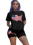 Conjunto de pantalones cortos de dos piezas con estampado de banderas americanas de verano