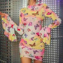 Sexy vlinder mini-jurk met brede manchetten