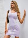 Mini vestido sin mangas sexy morado