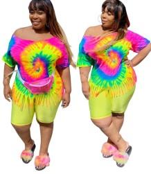 Büyük Beden Batik Saçak Gömlek ve Düz Şort