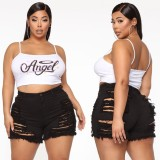 Plus Size High Waist Rip Jeansshorts