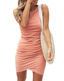Lässiges ärmelloses einfarbiges Wickel-Minikleid