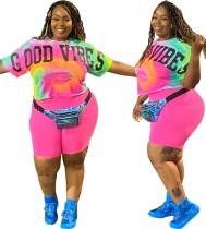 Plus Size Tie Dye Fringe Shirt and Plain Shorts
