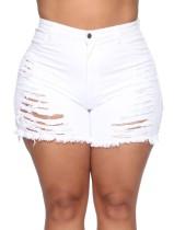 Plus Size High Waist Rip Denim Shorts