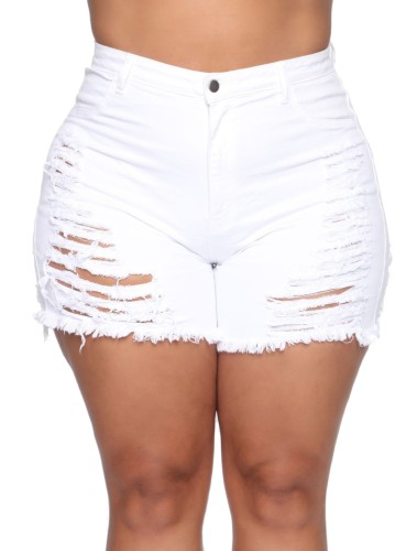 Plus Size High Waist Rip Denim Shorts