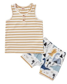 Kids Boy Summer Two Piece Print Shorts Set