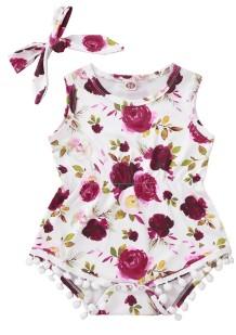 Baby Girl Summer Floral Strampler mit Stirnband