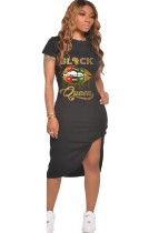 Yaz Dudak Baskı Afrika Yarık Midi Elbise