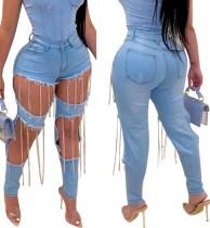 Jeans de borla con corte de cintura alta con estilo
