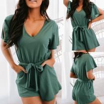 Pagliaccetti verdi casuali per il tempo libero estivo con cintura