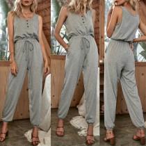 Pijama de mono gris sin mangas de verano