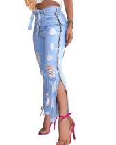 Stilvolle High Waist Slit Zipper Rip Jeans