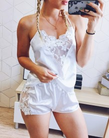 Sexy tweedelige kanten accent satijnen pyjama short set