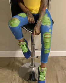 Stijlvolle Neon Rip Tight Jeans