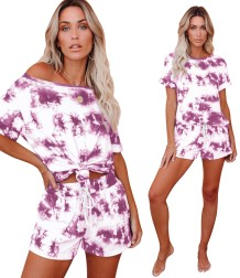Summer Tie Dye Two Piece Pajama Shorts Set