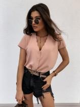 Camisa lisa de verano con cuello en V