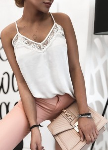 Summer White Halter Vest with Lace Trims
