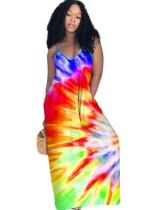 Vestido largo africano con correa tie dye