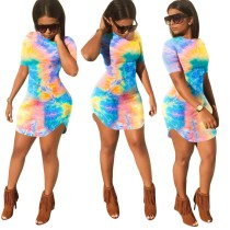 Summer Tie Dye Slit Fit Hemdkleid