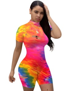 Sexy Tie Dye Rip Bodycon Rompers
