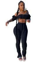 Sexy einfarbiges Reißverschluss-Bandeau-Oberteil und gestapelte Hosen
