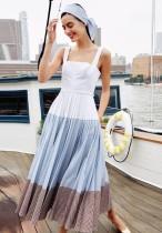 Vestido largo plisado de verano con correa ancha vintage