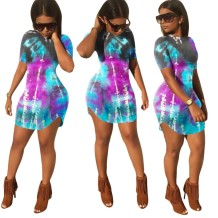 Summer Tie Dye Slit Fit Hemdkleid