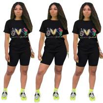 Sommer Print Zweiteiliges Biker Shorts Set