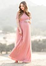 Robe de soirée d'été rose Pregenant
