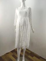 Robe de bal Pregenant en dentelle blanche d'été
