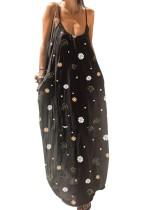 Vestido largo de verano con correa floral negra Boho