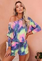 Conjunto de shorts de pijama de dos piezas Tie Dye Autumn
